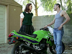 Cute college chick wearing shirt skirt seduces biker and gives him blowjob