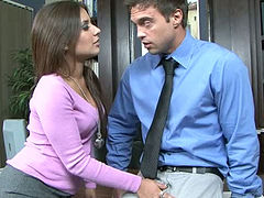 Office Perverts with sexy brunette