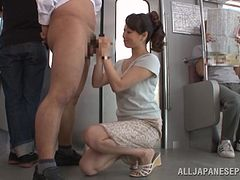 Yuu Kawakami pleases a dude with a blowjob and a handjob