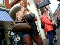 Hot German Teen Shorts Stocking at Bus Stop Ass Legs