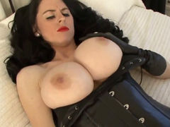 brunete babe plays with her big tits and wet twat