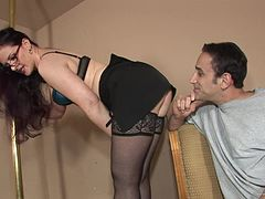 Mini-skirt clad cougar with glasses getting her pussy licked