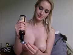 Buxom alluring auburn babe goes solo to tease her own juicy wet cunt