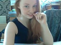 Sweet and slender gingerhead teen masturbates on webcam