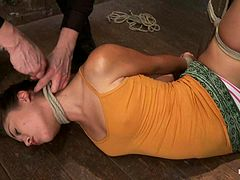 Slim Kristina Rose gets her hairy pussy toyed in BDSM video