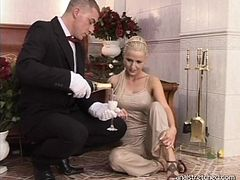 Lovely blonde doll loves a hard cock in her rectum