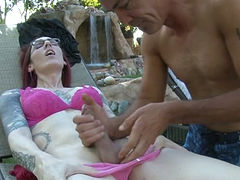 When she is bored she likes having her cock sucked