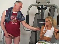 Cute blonde with perky tits getting her wet pussy licked by an old man