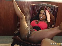 Black girls demonstrates their squirting abilities in the office