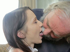 Incredibly ugly old man eats sweet pussy of his young wanton chick