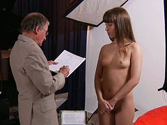 Young whore with yummy tits gets brutally fucked by an older man