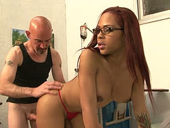 Perverted bald headed dude provides curvy shemale doctor with blowjob