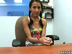 Pigtailed Teen Rides A Really Big Cock IN POV Scene