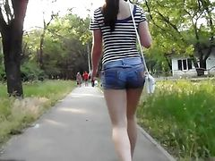 sexy assed walking in the forest