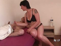 French mom seduces 2 younger guys and gives her ass