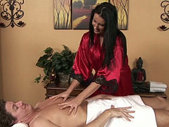 Awesome curvy brunette girlie massages dude and jerks off his big cock