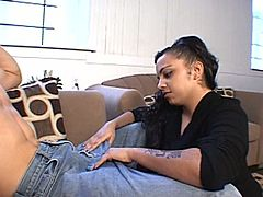 Witness an artful blowjob from a tattooed Latina chick