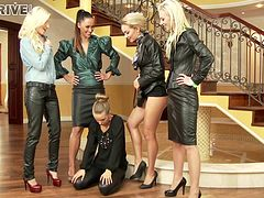 Five business minded ladies strip, and have a lesbian orgy