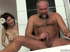 Brigitta gets fucked by some old dude in the bathroom