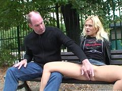 Katja is so horny she sits on his cock on a public park bench
