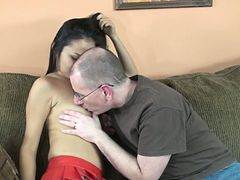 Asian cutie in miniskirt sucks and rides a hairy guy's wang