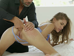 Stunning blonde chick with small tits Rebel Lynn ass fucked by her stepdad