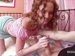 stepsis Caught Step-Bro and helps with Nice Handjob to Cum