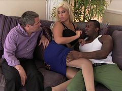 Blonde with huge tits gets fucked by black dude in cuckold porn