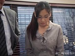 Asian MILF & teacher in pantyhose gets gagged and played with