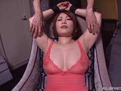 Curvaceous bound Japanese girl vibrated until she cums