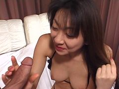 Mature Asian woman with a big bush banged by a younger guy