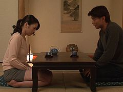 Attentive Japanese girl uses her mouth to satisfy her man