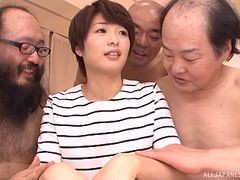 Much older Japanese guys team up to fuck a hot AV model