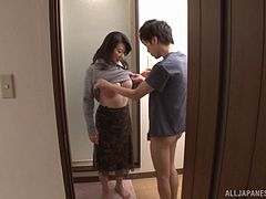 Mature Asian woman gets banged by a younger guy in the shower