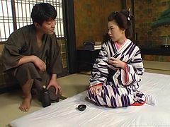 Sexy Geisha girl strokes and rides the dick of a lucky man