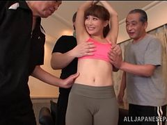 A group of older guys gang up to fuck a hot Asian girl