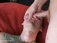 Heavenly cock sucking session with two tattooed gay guys