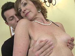 Horny mature housewife fucks and sucks her toy boy