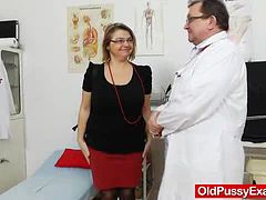 Big tits granny has her twat jammed with toys at the doctor's