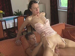 Zealous brunette hooker with small tits gets fucked by her man hard