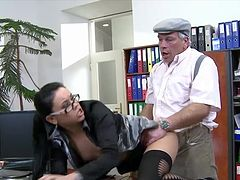Sweet old man is fucking with young brunette