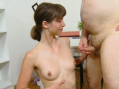 Slender brunette chick Marisha gets her cunt rammed hard by old teacher