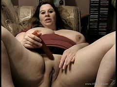 BBW girlfriend masturbates while her man watches and films