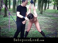 Bdsm fantasy in the forest with hot slave
