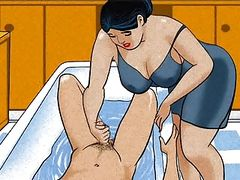 Mature mom handjob dick her boy! Animation!