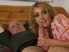 Filthy blond wifey Alex Verduci sucks her hubby's strong dick on wide bed