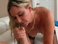 Appetizing tanned blond haired chick in black lingerie sucks dick and enjoys doggy