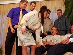 Slutty wife lets every guy on the block gangbang her