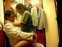 Spoiled Asian brunette wifey gets nailed from behind by her lewd hubby