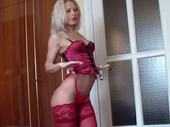 Oversexed young wife shows off her new pink lingerie and stockings